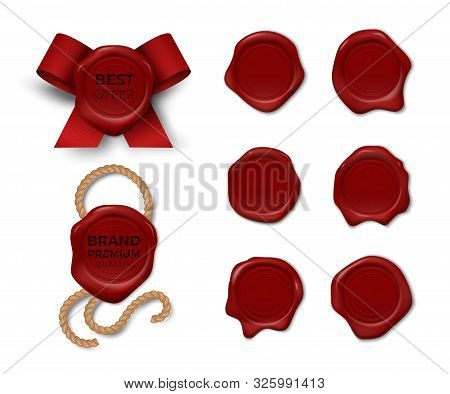 Wax Stamp. Realistic Red Candle Seal Sealing Wax Old Stamps Labels For Security Mail. Vector Illustr