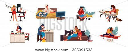 People With Hobbies. Flat Creative Characters Cooking Playing Sewing And Doing Hobbies At Home And O