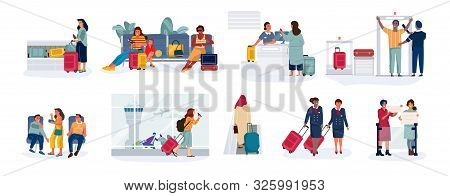 Travelers And Tourists. Men And Women In Airport At Check-in, Sitting In Airplane Waiting Hall And R