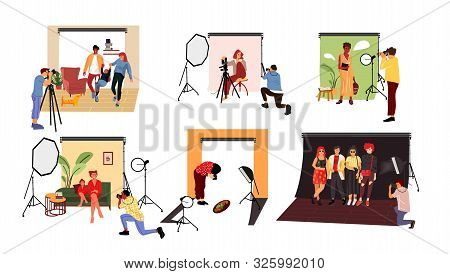 Photographers In Studio. Cartoon Models Working At Photo Studio In Different Poses And With Costumes