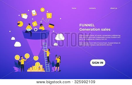 Leads Generation Landing Page. Increasing Customers Web Page Template, Inbound Marketing Concept. Ve