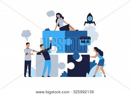 poster of Business puzzle concept. Teamwork and partnership flat puzzle with cartoon businessman. Vector illustrations people connected in collaboration for jigsaw solutions and development business