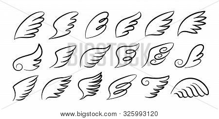 Doodle Wings. Cartoon Bird Feather Wings, Religious Angel Wings Ink Sketch, Black Tattoo Silhouette.