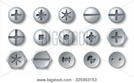 Realistic Screws. Metal Bolt Different Head And Steel Rivets With Washers And Nuts. Vector Top View