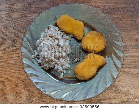 Buckwheat Porridge With Chicken Nuggets