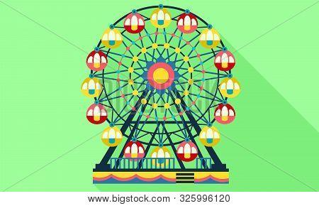 Ferris Wheel Icon. Flat Illustration Of Ferris Wheel Vector Icon For Web Design