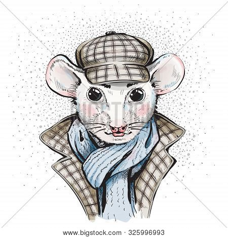 Portrait Of A Great Mouse Detective In A Cap And Coat With An English Scottish Cage. The Image Of Sh