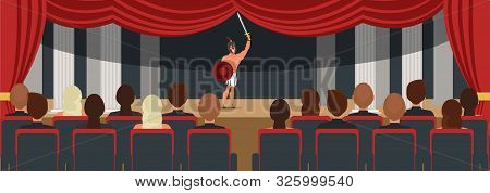 Audience Watching Theater Play Illustration. Male Actor Performing On Stage. Luxury Red Drop Drawing