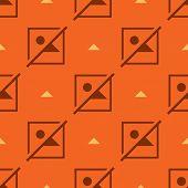 Seamless incomplete symbol flat pattern on orange background poster