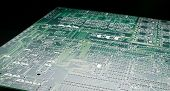 Printed circuit board with high contrast lighting and black background poster