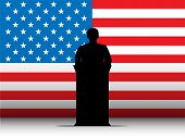 Vector - United States of America Speech Tribune Silhouette with Flag Background poster