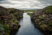 rift of clear water in thingvellir national park, iceland poster