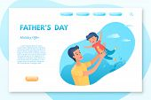 Fathers Day landing page vector template. Parenting, fatherhood vector web banner. Parent and kid leisure activities, pastime. Young father with child having fun in park isolated clipart. Family time poster