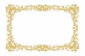 Golden Vintage Ornament Pattern Frame Vector, Border Ornament Pattern Frame, Engraving Ornament Patt