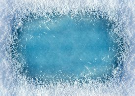 Winter Background: Close-up Of Frozen Ice With Snow Crystals And Snowflakes. Christmas And Happy New