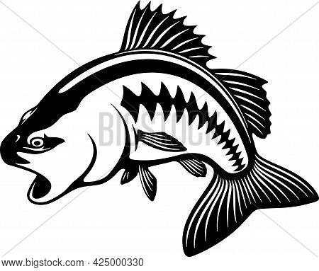 Bass Fish And Fishing Hook - Fishing Logo. Template Club Emblem. Fishing Theme Vector Illustration.
