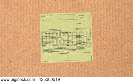 Blank Customs Declaration Label On A Foreign Packet Parcel