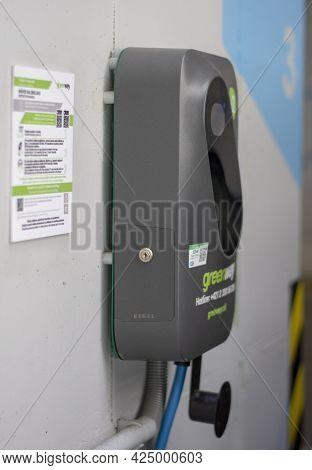 Banska Bystrica, Slovakia - June, 26, 2021 : Ev Charging Station Or Electric Vehicle Supply Equipmen