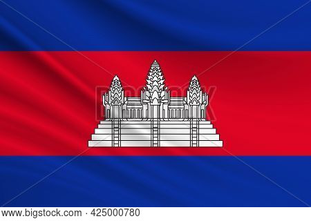 Flag Of Cambodia Fabric Texture Of The Flag Of Cambodia.