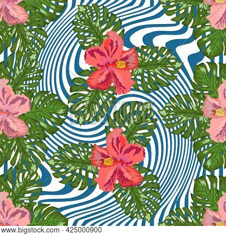 Modern Tropical Flower Pattern, Great Design For Any Purposes