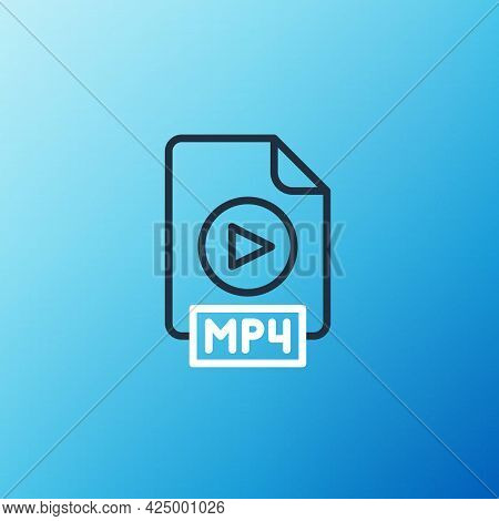 Line Mp4 File Document. Download Mp4 Button Icon Isolated On Blue Background. Mp4 File Symbol. Color