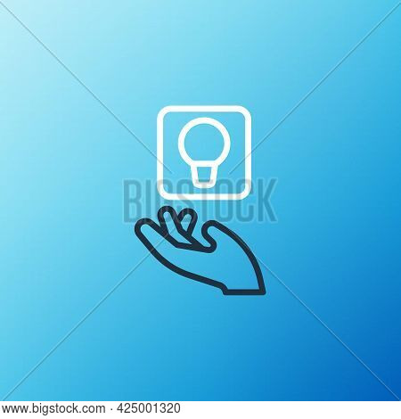 Line Light Bulb With Concept Of Idea Icon Isolated On Blue Background. Energy And Idea Symbol. Inspi