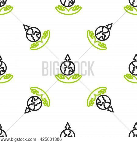 Line World Expansion Icon Isolated Seamless Pattern On White Background. Vector