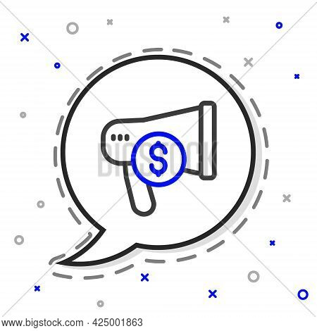Line Megaphone And Dollar Icon Isolated On White Background. Loud Speech Alert Concept. Bullhorn For