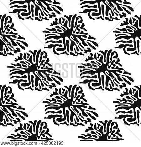 Stylish Doodle Seamless Pattern With Splash Pattern Black On White Background. Abstract Wallpaper, F