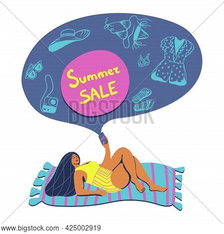 Vector Summertime Handdrawn Summer Sale Banner For Marketplace. Hand Drawn Curvy Girl On A Beach Tow