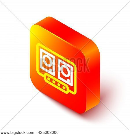 Isometric Line Dj Remote For Playing And Mixing Music Icon Isolated On White Background. Dj Mixer Co