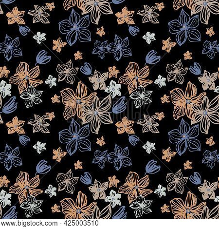 Abstract Flowers Vector Seamless Pattern With Drawing Yellow, Gold, Silver, Blue . Floral Watercolor
