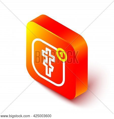 Isometric Line Online Church Pastor Preaching Video Streaming Icon Isolated On White Background. Onl
