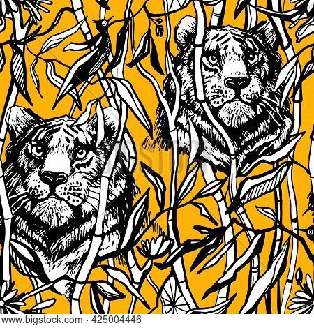 Tiger And Lion Seamless Pattern. Exotic Jungle On Dark Yellow Background With Drawn Tropical Bamboo