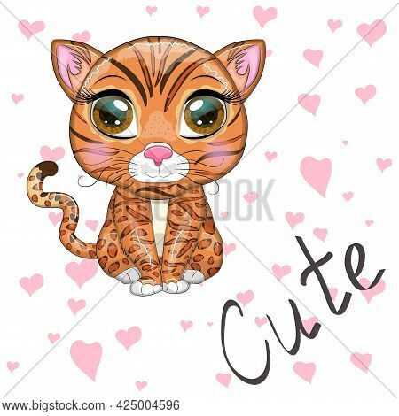 Bengal Cat With Beautiful Eyes In Cartoon Style, Hybrid, Colorful Illustration For Children