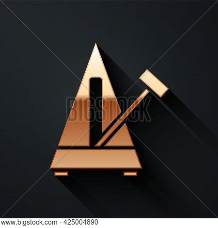 Gold Classic Metronome With Pendulum In Motion Icon Isolated On Black Background. Equipment Of Music