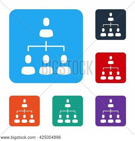 White Business Hierarchy Organogram Chart Infographics Icon Isolated On White Background. Corporate
