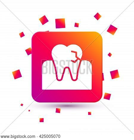 White Tooth With Caries Icon Isolated On White Background. Tooth Decay. Square Color Button. Vector