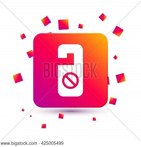 White Please Do Not Disturb Icon Isolated On White Background. Hotel Door Hanger Tags. Square Color