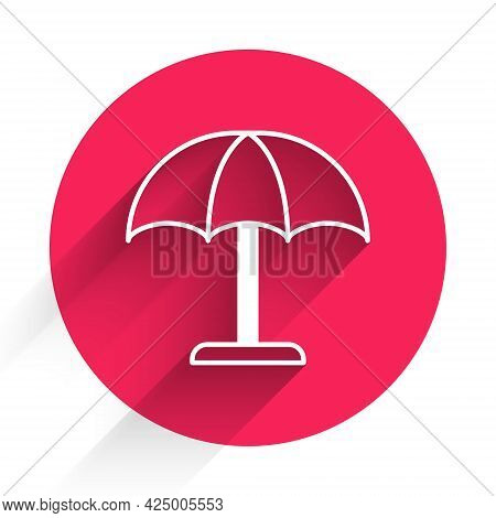 White Sun Protective Umbrella For Beach Icon Isolated With Long Shadow. Large Parasol For Outdoor Sp