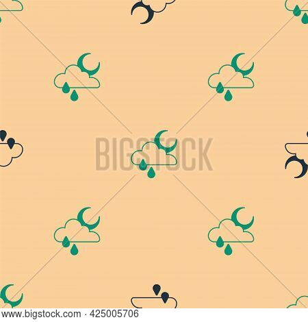 Green And Black Cloud With Rain And Moon Icon Isolated Seamless Pattern On Beige Background. Rain Cl