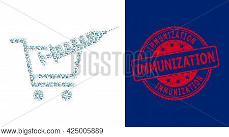 Immunization Textured Round Stamp Seal And Vector Fractal Mosaic Vaccine Shopping. Red Stamp Seal Co
