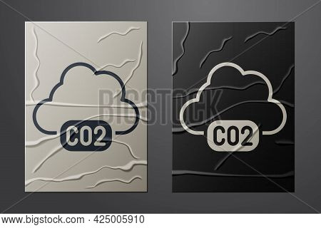 White Co2 Emissions In Cloud Icon Isolated On Crumpled Paper Background. Carbon Dioxide Formula, Smo