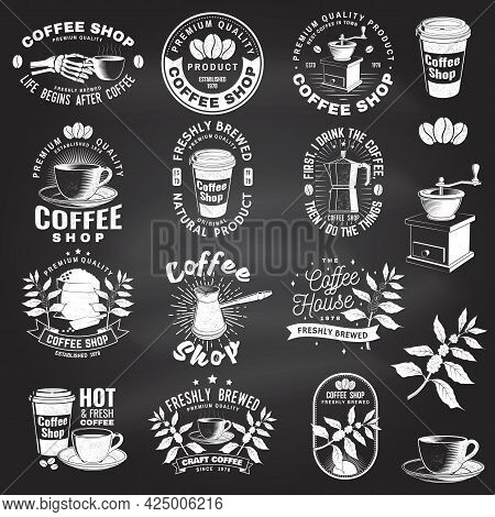 Set Of Coffe Shop Logo, Badge Template On The Chalkboard. Vector. Typography Design With Coffee Grin