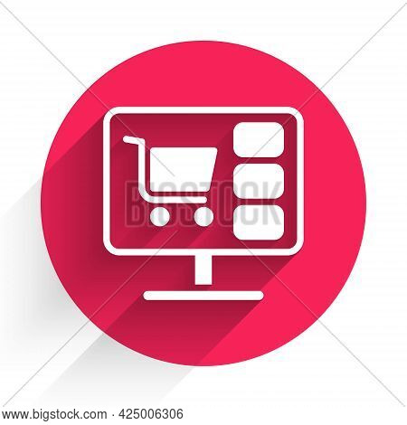 White Shopping Cart On Screen Computer Icon Isolated With Long Shadow. Concept E-commerce, E-busines