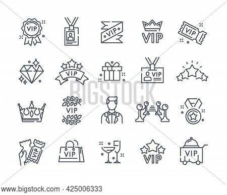 Simple Set Of Vip Vector Line Icons. Champagne, Red Carpet, Vip Cinema Tickets, Vip Line And Many Ot