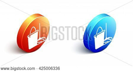 Isometric Mop And Bucket Icon Isolated On White Background. Cleaning Service Concept. Orange And Blu