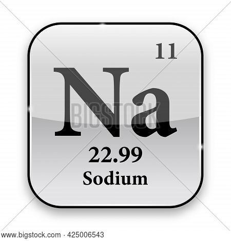 Sodium Symbol.chemical Element Of The Periodic Table On A Glossy White Background In A Silver Frame.