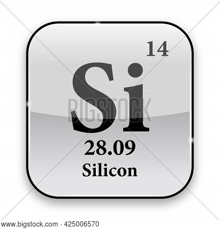 Silicon Symbol.chemical Element Of The Periodic Table On A Glossy White Background In A Silver Frame