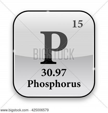 Phosphorus Symbol.chemical Element Of The Periodic Table On A Glossy White Background In A Silver Fr